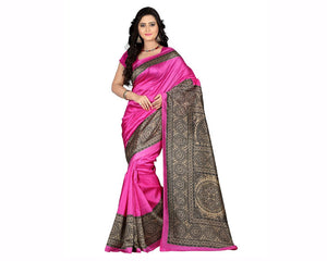 e-VASTRAM Womens Art Mysore Printed Silk(NS5D_Pink) for women