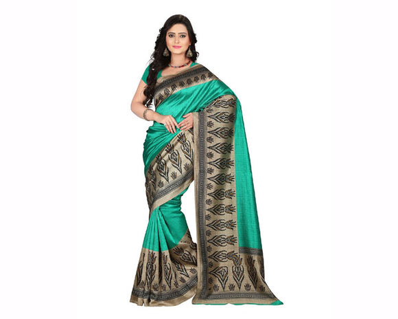 e-VASTRAM Womens Art Mysore Printed Silk(NS8B_Green) for women