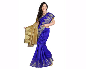 e-VASTRAM Silk Cotton Saree(DSDB_Dark Blue)
