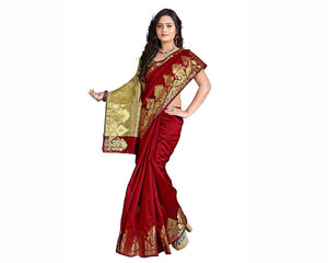 e-VASTRAM Silk Cotton Saree(NDSM_Maroon) for women
