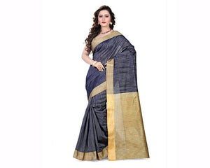 e-VASTRAM Womens Khicha Plain Saree(KHICHAGREY_Grey)