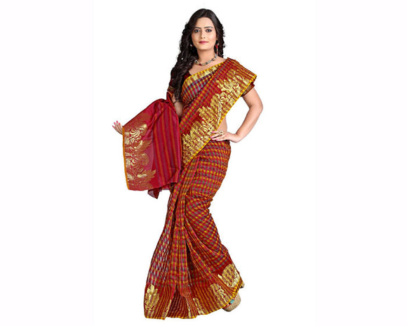 e-VASTRAM Supernet Multi Coloured Zari Skart Saree(EMSM_Maroon)
