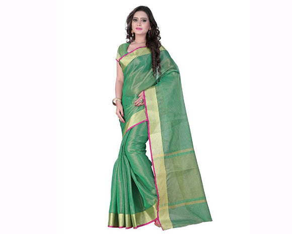 e-vastram Womens Tissue Self Zari All Over Saree(TISSUERG_Green)