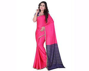e-VASTRAM Womens Crepe Embose Contrast Border, pallu And Blouse(Crepe_Strawberry)