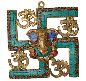 Ganesha and Swastik Brass Wall Hanging Turquoise work