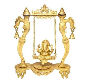 Ganesha on Designer Curved Pillar Jhoola