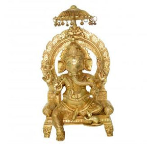 Ganesha Sitting on a throne Brass Metal Decorative Sowpiece