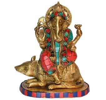Ganesha sitting on Rat metal temple worship Murti