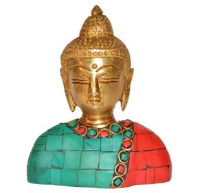 God Buddha Bust with coral Stone work of Brass