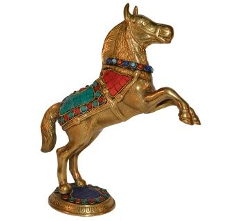 Jumping Horse Statue Made in Brass Metal in Turquoise