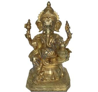 Kalash Ganesha Decorative Brass Carving Statue