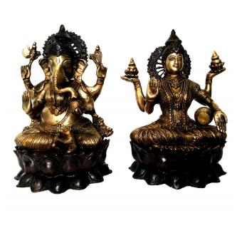 Laxmi Ganesh Statue Made in Brass Metal