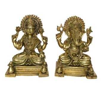 Laxmi Ganesha Pair of Brass Metal Religious Statue
