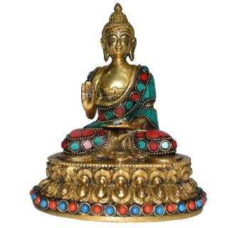 Lord Buddha Sitting on Lotus with turquoise stone work