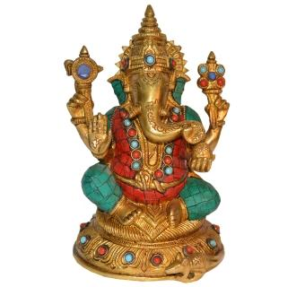 Lord Ganesha Brass Blessing Religious Satue for Prosperity