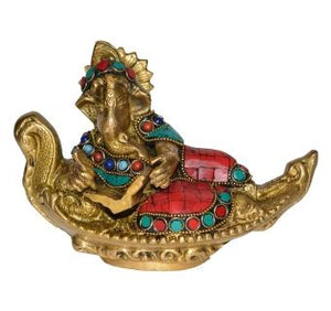 Lord Ganesha Statue Sitting on Boat