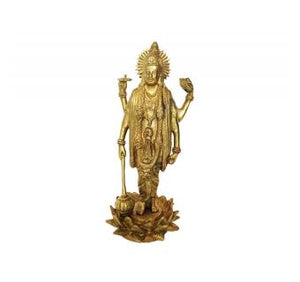 Lord Vishnu Sculpture Standing on Lotus Made By Brass