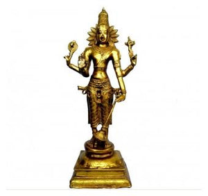 Lord Vishnu Standing Sculpture Made in Brass Metal