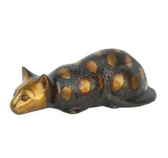 Lying Cat Brass Sculpture