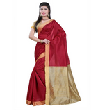E-Vastram Self Design Banarasi Cotton, Silk Saree  (Maroon)