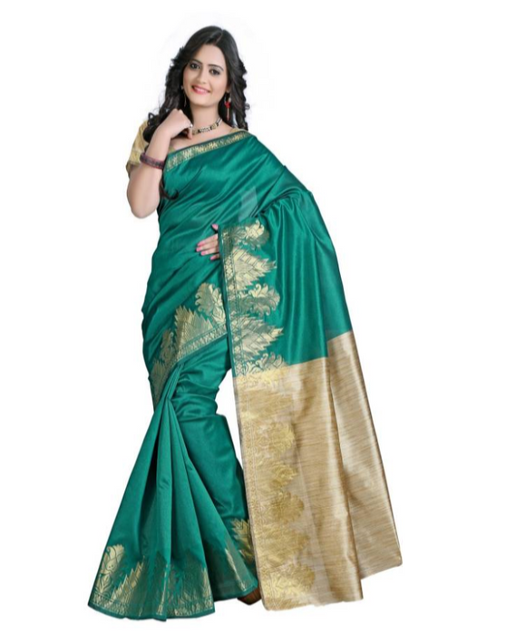 E-Vastram Woven Bollywood Dupion Silk Saree  (Green)
