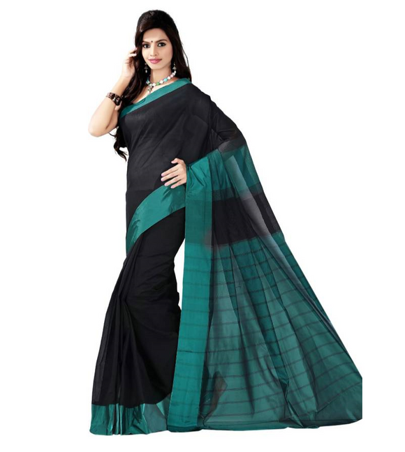 E-Vastram Self Design Banarasi Banarasi Silk Saree  (Black, Green)