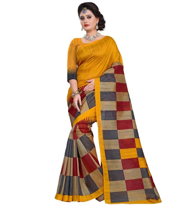 E-Vastram Printed Bhagalpuri Art Silk Saree  (Multicolor)
