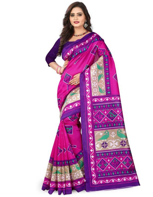 E-Vastram Digital Prints Mysore Art Silk Saree  (Pink, Blue)