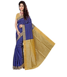 E-Vastram Self Design Fashion Cotton, Silk Saree  (Blue)