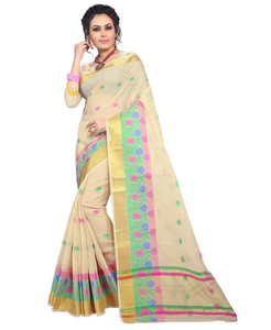 E-Vastram Woven Fashion Kota Cotton Saree  (White)