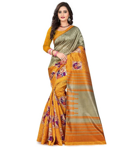 E-Vastram Digital Prints Mysore Art Silk Saree  (Yellow, Beige)