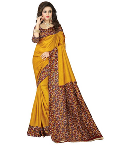 E-Vastram Printed Fashion Crepe Saree  (Yellow)