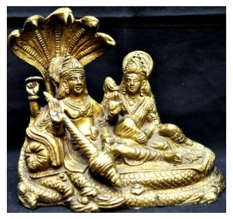Religious & Decorative Brass Statue of Lord Vishnu resting on Sheshnaag with Goddess Laxmi