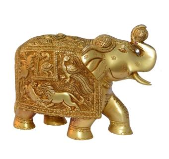 Royal Brass Elephant Decorative Statue with engraved figures