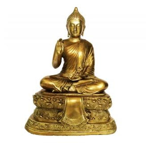 Sitting Buddha on Lotus Base brass made statue 3 feet height