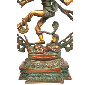 Statue of Dancing lord nataraj made of antique finish of brass