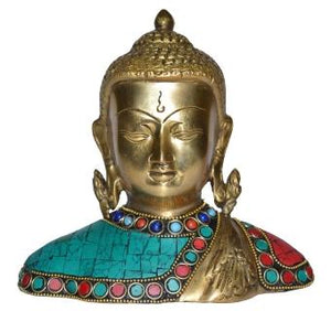 Statue of Lord Buddha Turquoise Coral Studded Bust