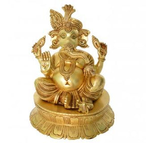 Unique Design Brass Statue of Lord Ganesha Decorative Showpiece