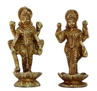 Vishnu and Lakshmi Pair of Brass