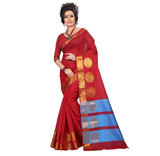 E-Vastram Solid Fashion Cotton, Silk Saree  (Red)