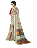 e-VASTRAM Womens Crepe Printed Art Silk Saree(V3104_Beige)