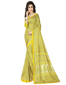 e-VASTRAM Womens Crepe Printed Art Silk Saree(V3116_Yellow)