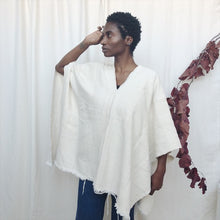 natural white handwoven poncho