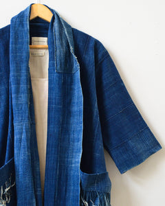XL Distressed Indigo Tassel Coat IX