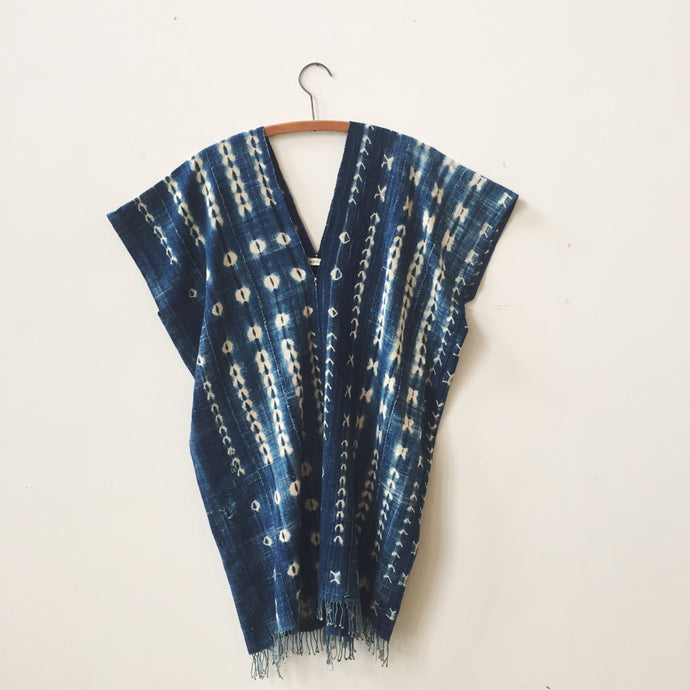 indigo shibori caftan dress II