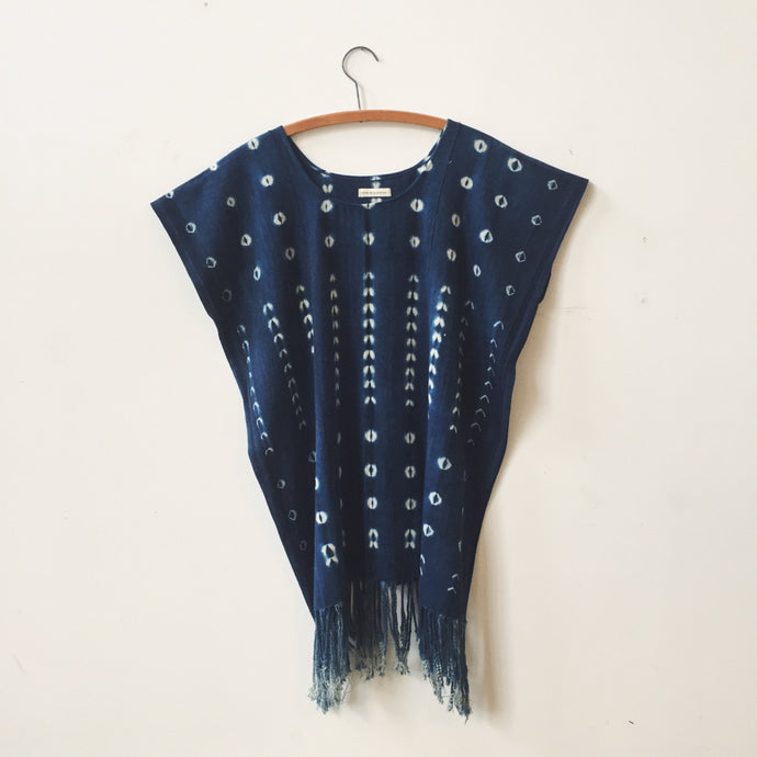 indigo shibori caftan dress III