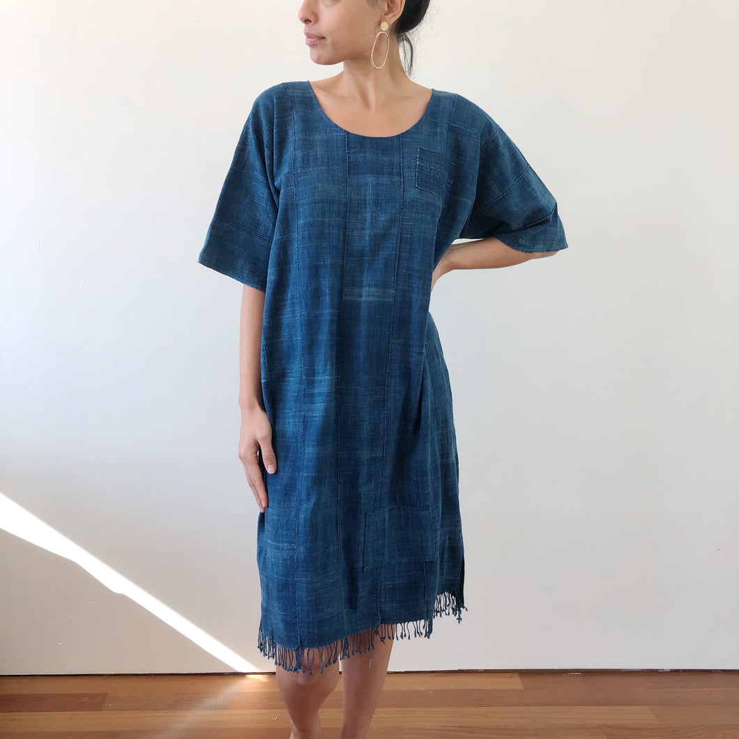 sobradinho indigo shift dress