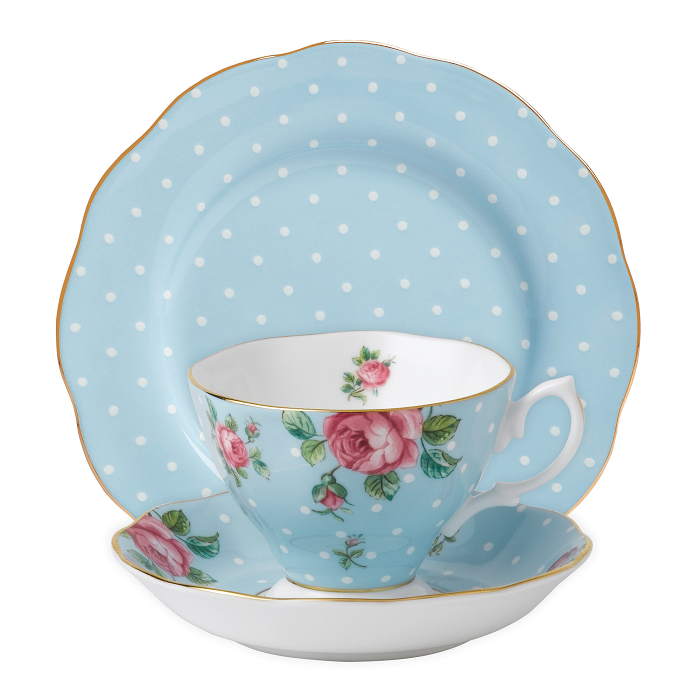 Royal Albert Polka Blue Teacup/Saucer/ Plate Set