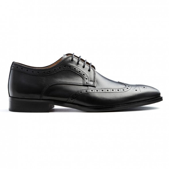 Mens black leather brogue lace-up derby shoe