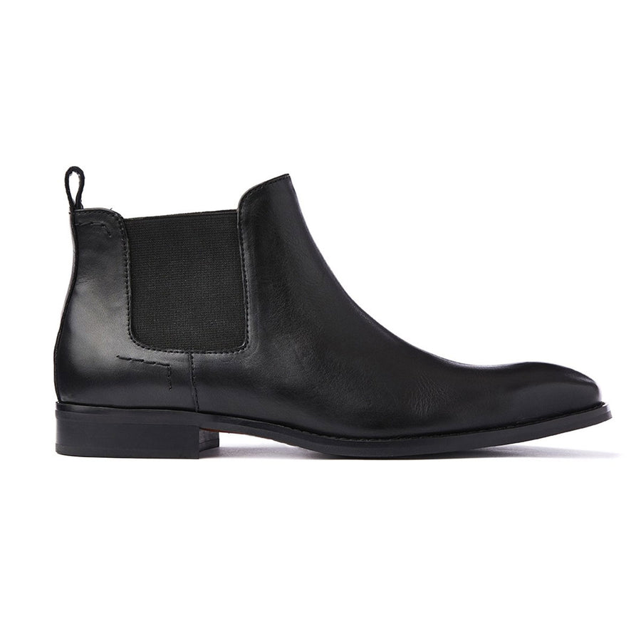 Mens black leather chelsea boot